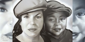 Mother and child painting BatArtworks