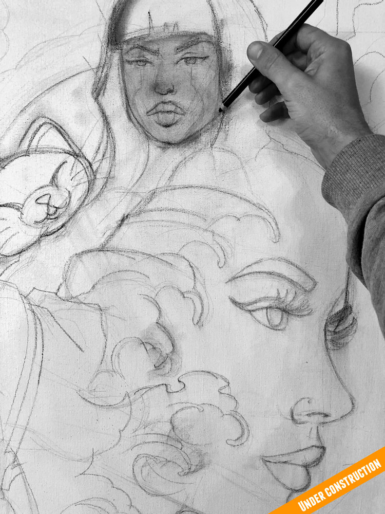 canvas art mixed portrait