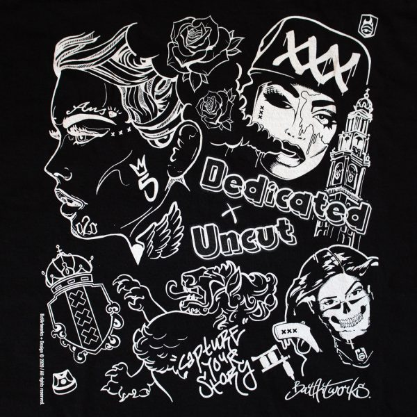 Dedicated x Uncut Black shirt BatArtworks