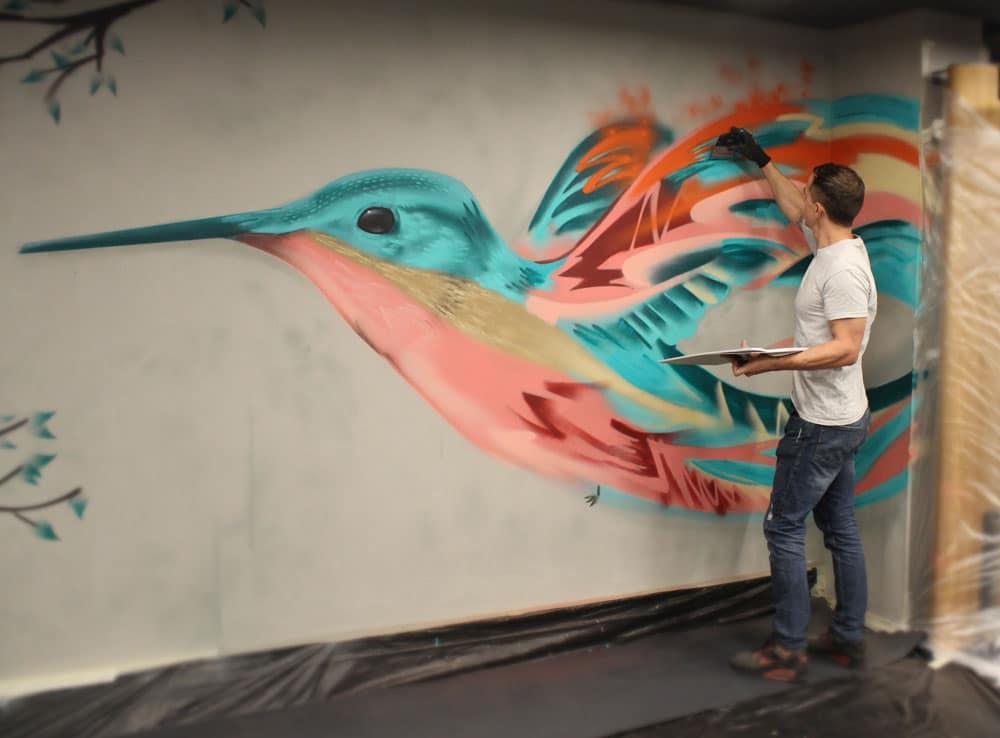 Graffiti art schildering Park Plaza hotel BatArtworks