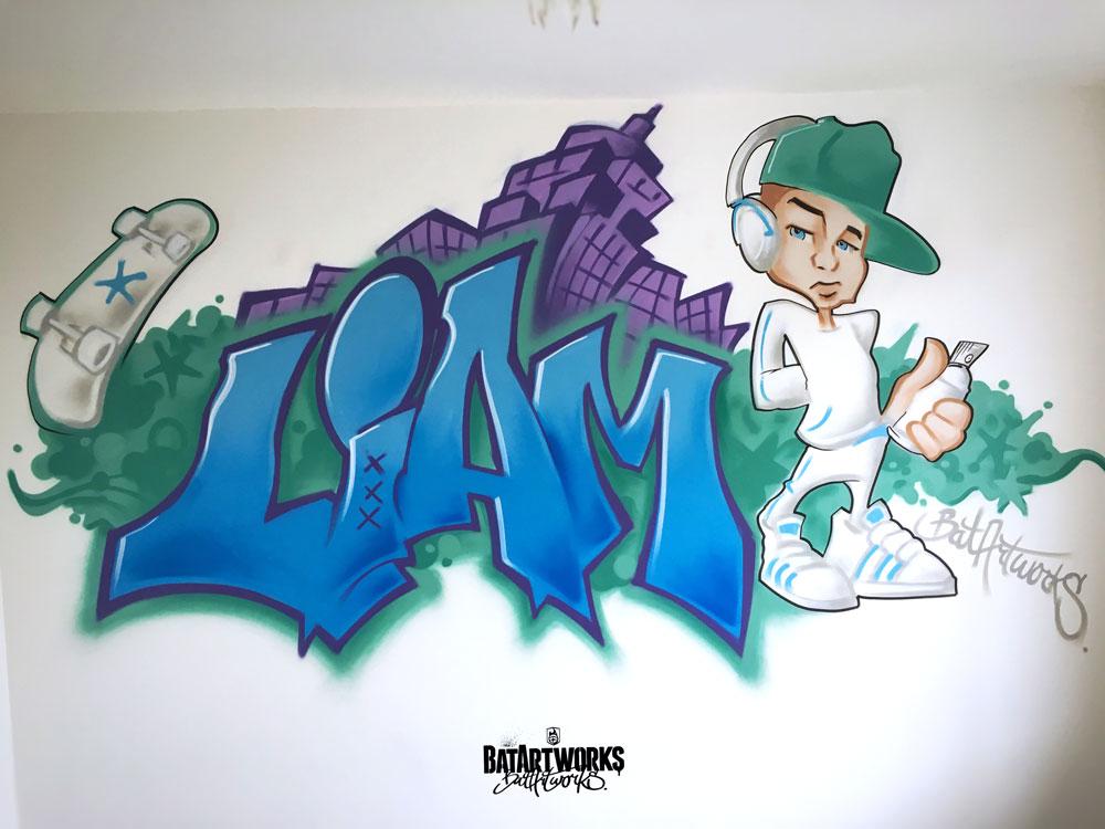 graffiti muurschildering kinderkamer Liam BatArtworks