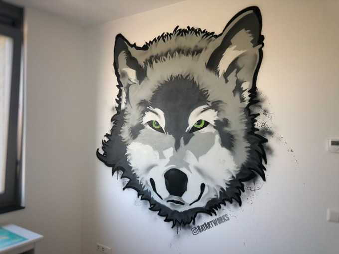graffiti wolf kinderkamer