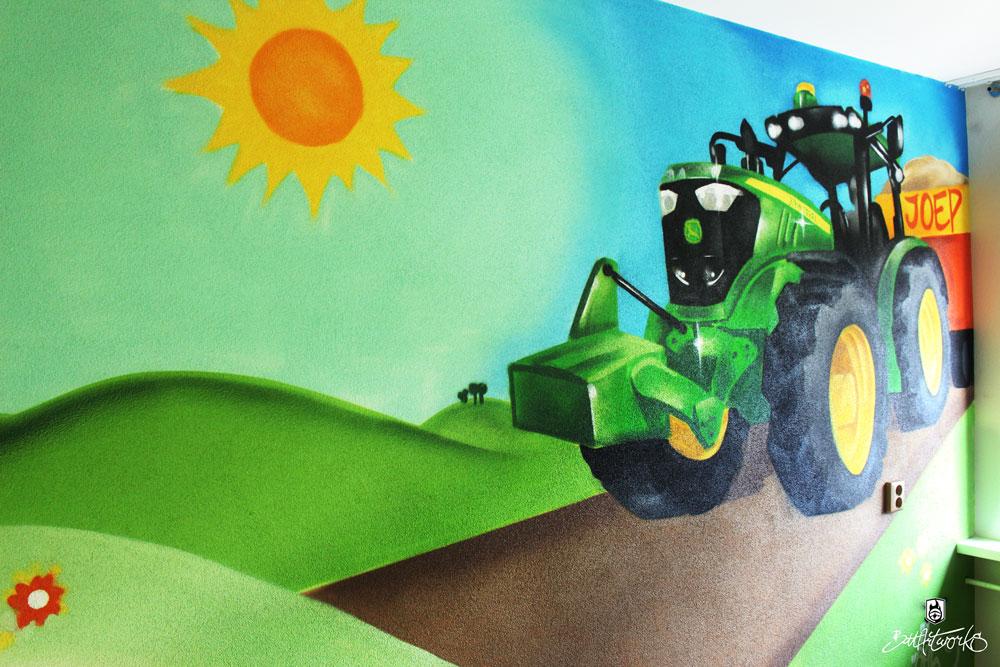 John Deere tractor kinderkamer muurschildering