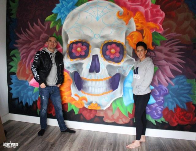 muurschildering sugar skull BatArtworks