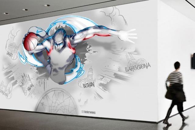 Nike EHQ Basketball mural