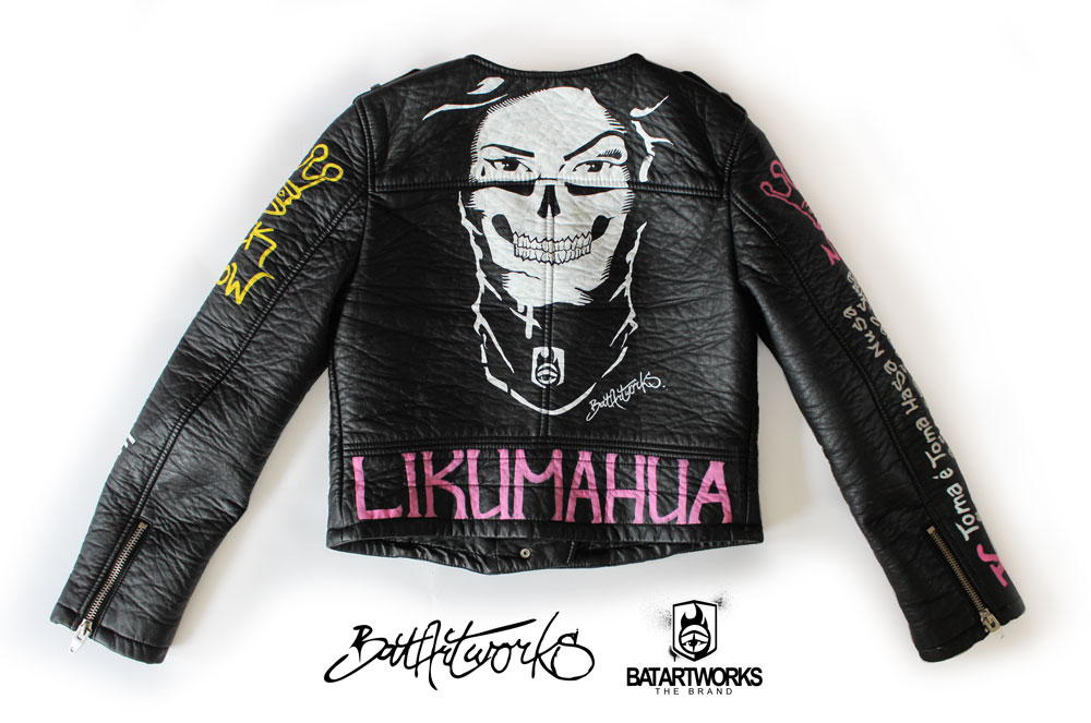 Painted leather jacket Chica Bandita back BatArtworks