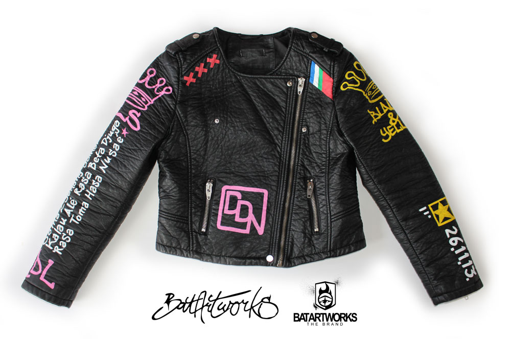 Painted leather jacket Chica Bandita front BatArtworks