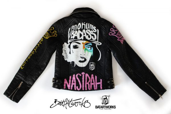 Painted leather jacket Mokums Badass back BatArtworks