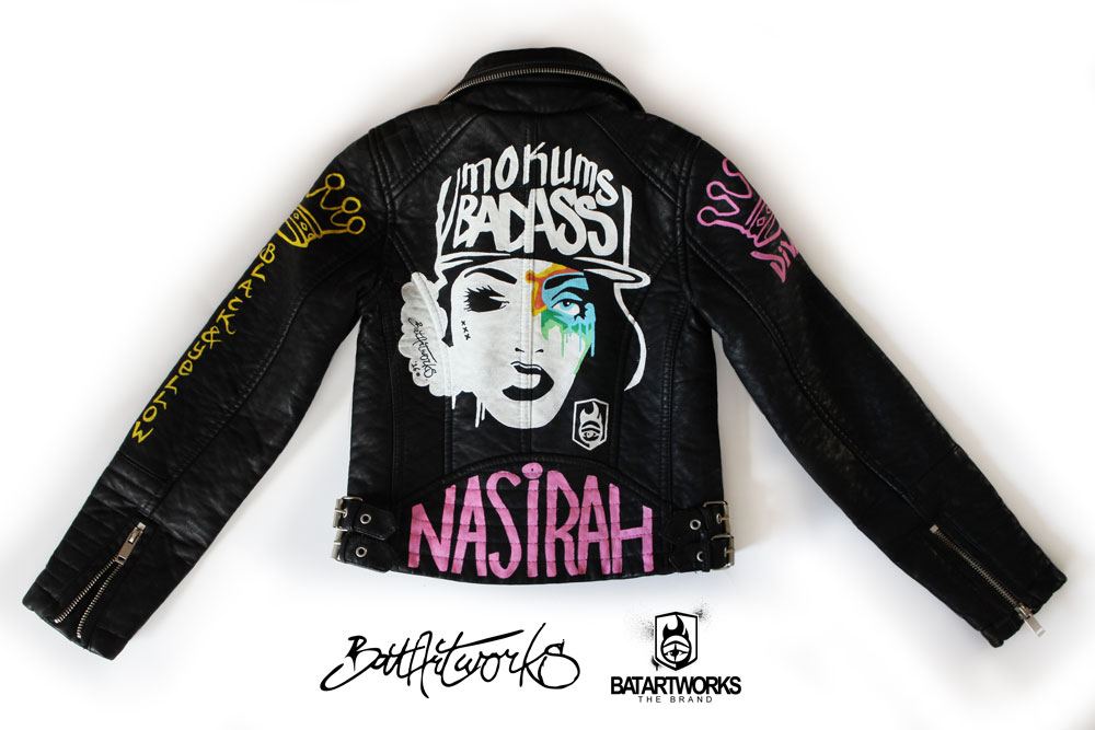 Hand painted leather jacket - BatArtworks