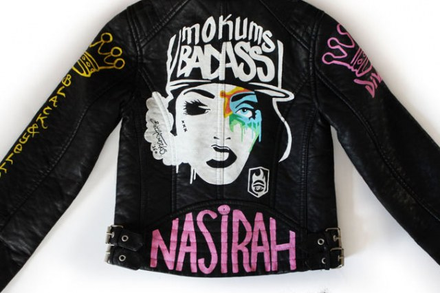 Painted leather jacket Mokums Badass featured BatArtworks