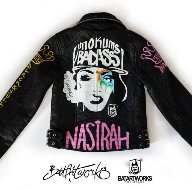 Painted leather jacket Mokums Badass featured BatArtworks