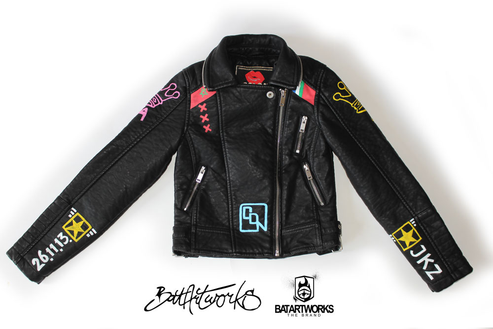 Painted leather jacket Mokums Badass front BatArtworks