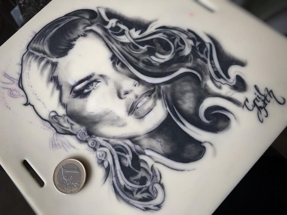 'Portrait' - tattoo ink on silicon sheet